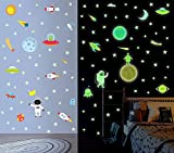DIY Cartoon Leuchtsticker | Planeten Astronaut Rakete Fluoreszierend Aufkleber | Sonnensystem...
