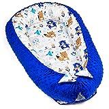 warmes Nestchen Baby 90x50 cm - Kuschelnest Neugeborene Nestchen Winter / Herbst Kokon Babynest Blau Minky mit weiß-blauen Bären Motiv