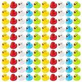WELLGRO 100 Badeenten - bunt (gelb, rot, weiß, blau, grün), je Ente ca. 3,5 x 3 cm (ØxH),...