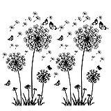 2 Stück Schwarz Wandtattoo Pusteblumen für Wanddeko,XXL Groß Löwenzahn Blumen Pflanzen Wandsticker Wandaufkleber Kleben Aufkleber Wandbilder für Wohnzimmer Schlafzimmer Vorraum Flur Fenster 165X130cm