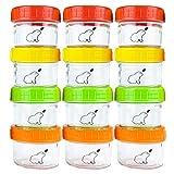 Budding Bear Vorratsdosen Glas für Babynahrung, Glasfrischhaltedose 130ml (12 STK) - Gefrierdosen Klein mit Schraubdeckel, Glasbehälter Rund Mikrowellenfest (Außer Deckel) - Schadstoffrei, Mehrweg
