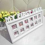 Soldmore7 'My First Year' Baby-Fotorahmen für 12 Fotos - My First Year's Baby Schöner Fotorahmen für 12 Fotos - Perfektes Zubehör für den ersten Geburtstag zum Geburtstag Ihres Babys