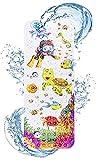 FINEW rutschfeste Kinder Badewannenmatte, Extra Lange Badematten - 40x100 cm, Cartoon Antirutschmatte mit Saugnapf, Ablauflöcher, Perfekt Badematte für Kinder und Baby