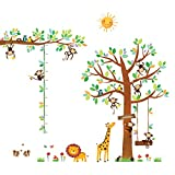 DECOWALL DA-1401P1402 8 Affen Groß Baum Zweig Höhentabelle Waldtiere Tiere Wandtattoo Wandsticker...