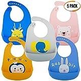 5er Pack Wasserdichte Silikon Baby Lätzchen in 5 Farben - Tief Auffangschale, Weiches, Verstellbare, Leicht zu Reinigen - BPA Frei, Spülmaschinenfest - für Entwöhnen| Weihnachten Babyparty Geschenk
