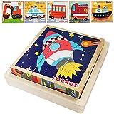 Würfelpuzzle aus Holz,3D Holzpuzzle Bilderwürfel,Lernspielzeug Puzzel,Holzpuzzle Würfelpuzzle,Würfelpuzzle für Kinder,Montessori Spielzeug Kinderpuzzle,Bilderwürfel Holz,Würfelpuzzle (der Verkehr)