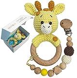 Baby Rassel Spielzeug Geschenk Geburt Mädchen Junge Beißring Holz Gehäkelte Greifling mit...