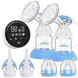 Elektrische Milchpumpe, Eccomum Doppel Milchpumpe Stillpumpe mit 4 Modi und 9 Stufen,...
