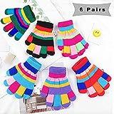 6 Paare Stretch Vollfinger Handschuhe,vollfinger Handschuhe Kinder,Winter Warme Strickhandschuhe für Jungen und Mädchen,kinderhandschuhe vollfinger (Farbe)