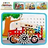 VATOS Zahnrad Holzpuzzle für Kinder, 4 Automuster, Motorikspielzeug Holzspielzeug, Perfekt Montessori Pädagogisches Geschenk für Kinder für Kinder,ab 3 4 5 6+Jahre Jungen Mädchen