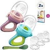 2 Fruchtsauger Baby + 1 Baybylöffel für Baby ab 3 Monate & Kleinkind + baby zubehör 0-6 monate + 6 Silikon-Sauger in 3 Größen - BPA-frei - Schnuller für Obst Gemüse Brei Beikost + Gratis Ebook