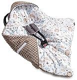Jukki® MINKY Einschlagdecke mit Kapuze Babyschale für Kindersitz im Auto oder Kinderwagen, Baby...