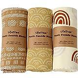LifeTree Musselin Baby Decke Pucktücher , 3 Stück Bambus Baumwolle Pucktücher für Jungen und...