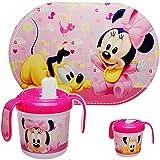 alles-meine.de GmbH 2 TLG. Set: Platzdeckchen + Trinklernbecher / Trinklerntasse / Trinklernflasche - Disney - Minnie Mouse - 250 ml - BPA frei - auslaufsicher - Baby Kinder - Ei..