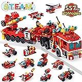 LUKAT Feuerwehrauto Spielzeug ab 5 Jahre Jungen, 557 PCS Bauspielzeug für Kinder, 25-in-1 STEM Engineering Bausteine Konstruktion Fahrzeug, Lernspielzeug ab 5 6 7 8 9+ Jahre Kinder