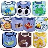 Yafane Baby Lätzchen Wasserdicht Weich 10er Babylätzchen aus Baumwolle mit Klettverschluss für...