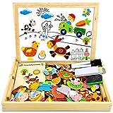COOLJOY Magnetisches Holzpuzzle mit Doppelseitiger Tafel, Holzspielzeug pädagogisches 100 Stück Lernspielzeug Staffelei Doodle für Kinder, Bauernhof Puzzle