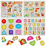 EPCHOO 4 Bunten Steckpuzzle Holzpuzzle, Nutztier / geometrische Figur / Zahl / Insekt Holz Peg...