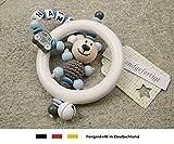 Baby Greifling Rassel Beißring mit Namen - individuelles Holz Lernspielzeug als Geschenk zur Geburt...