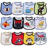 Lictin Babylätzchen Baby Lätzchen Weiches Lätzchen Wasserdichtes Lätzchen aus Bauwolle mit Klettverschluss für Jungen und Mädchen 3-30 Monaten 12pcs (Bunt)