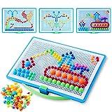 Colmanda Mosaik Steckspiel, 888 Stück Steckspielzeug Mosaik, 3D Mosaik Steckspiel Pegboard Puzzle, Steckspiel Pädagogisches für Junge Mädchen Geschenk