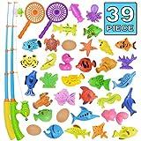 Angeln spielzeug, Badespielzeug, 39 Stücke Magnetisches Angeln spielzeug, Originales farbiges wasserdichtes schwebendes Spielzeug in der Badewanne Lernspielset zum Angelnlernen