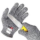 Alintor Schnitzhandschuh Kinder, Schnittfeste Handschuhe Kinder mit Stufe 5 Schutz, Arbeitshandschuh...