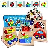 E-MANIS 3D Holz Puzzle Kinderspielzeug Spielzeug für ab 1 2 3 4 5 Jahr Kinder Holzpuzzles Holzspielzeug Montessori Spiele Pädagogisches Lernspielzeug Weihnachten Geburtstag Geschenk Steckpuzzle 6 Pcs