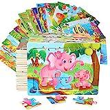 Cenhou Puzzles für Kinder,Kinder Holzpuzzle Spiele Vorschule Lernspielzeug Set, tolles Geschenk für Weihnachten Geburtstag Jungen Mädchen, 14,5 x 11 x 0,5 cm