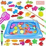 GOLDGE 42 Stück Angeln Spielzeug Badespielzeug Badewannenspielzeug Wasserspiel Perfekt Lernspiel Geschenk für Kinder