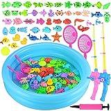 GOLDGE Angeln Spielzeug 52 Stück Badespielzeug Badewannenspielzeug Wasserspiel Perfekt Lernspiel...