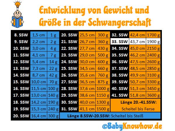 33. SSW Größe Gewichtszunahme